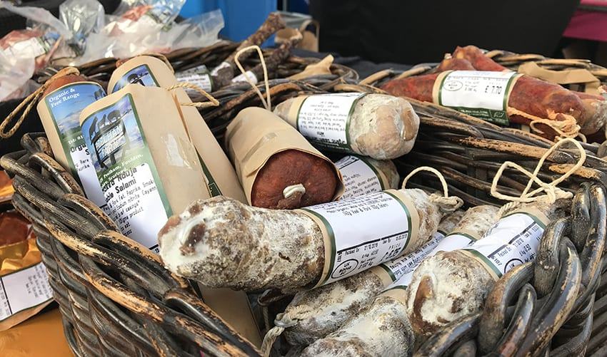 Peelham Farm – organic and free-range meat at Kelso Farmers Market in December 2018