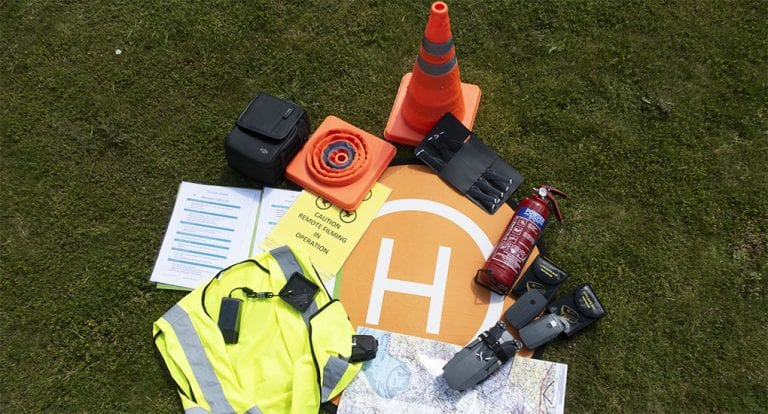 Cones, helipad, maps, drone all kept in The Silver Nomad's Drone Box
