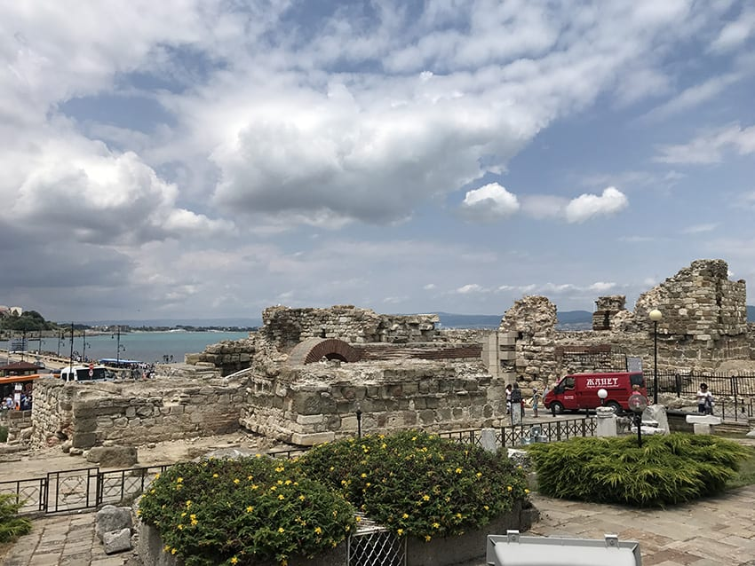 UNESCO site in Nessebar in Bulgaria featuring ruins next to the sea