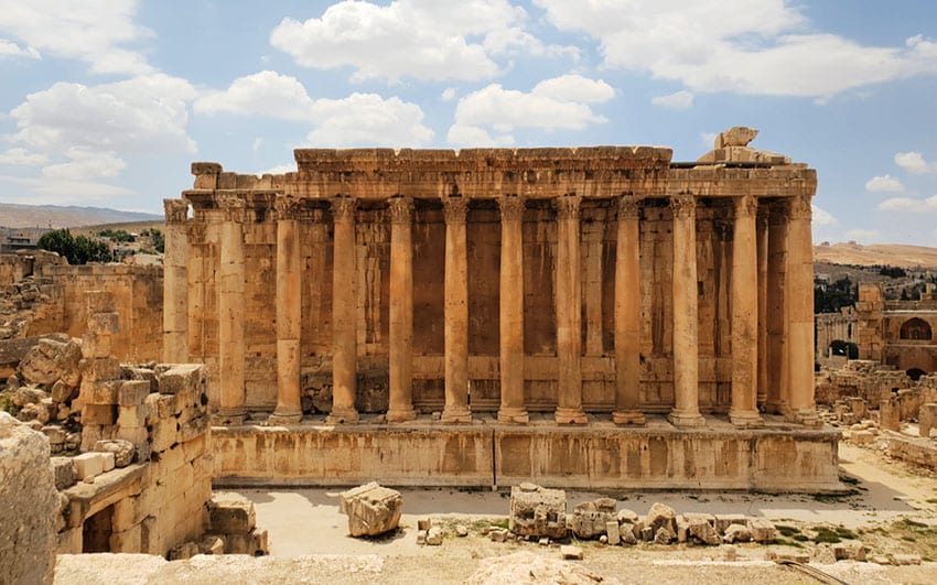 The Baalbek Bacchus temple  with 12 columns in with