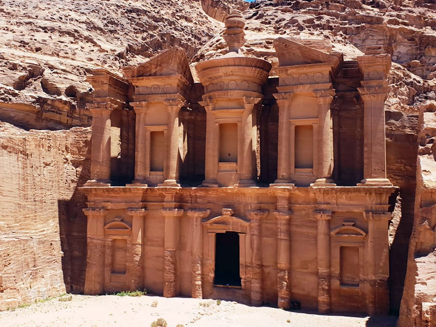 Petra Monastery carved out of rose coloured rock