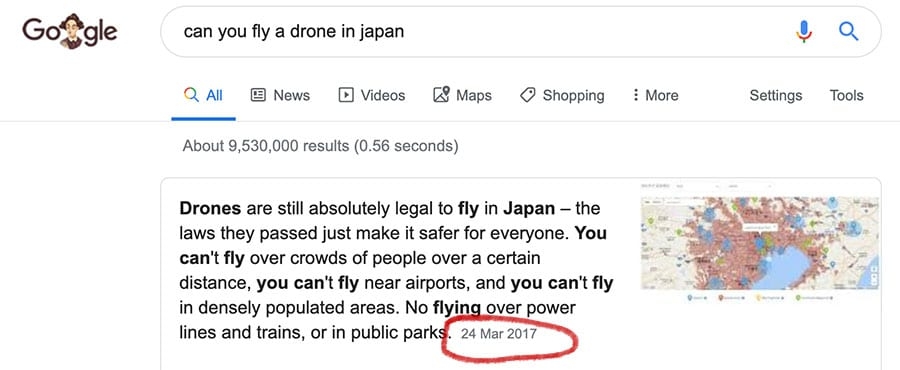 Google search for can you fly a drone in Japan showing information from March 2017 which is out of date