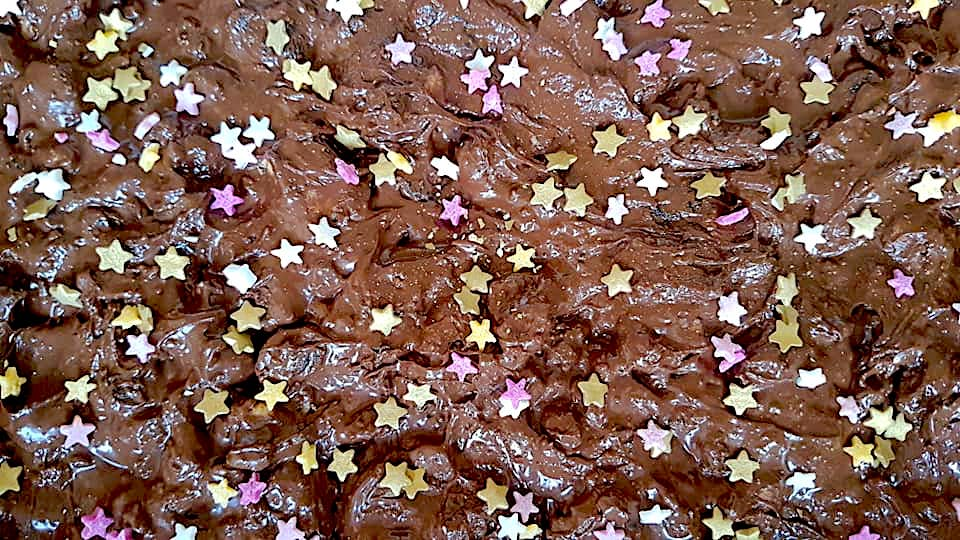 Chocolate with raisins mixed in and sprinkled with small edible silver, pink and gold stars - the favourite Christmas Bake of Susie from Quick and Easy Recipes