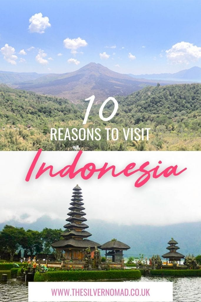 split image of a mountain with green hills in the foreground and blue skies, above an image of balinese temples floating on water with the words 10 reasons to visit Indonesia superimposed