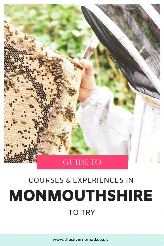 Image of man in bee protection suit holding a honeycomb covered in bees with text below saying Guide to Courses & experiences in Monmouthshire