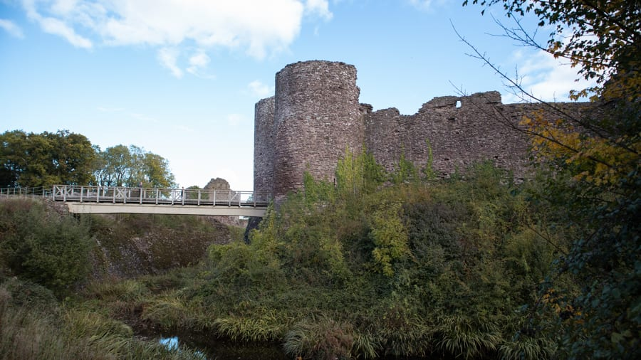 The ruins of White Castle with deep moat and bridge