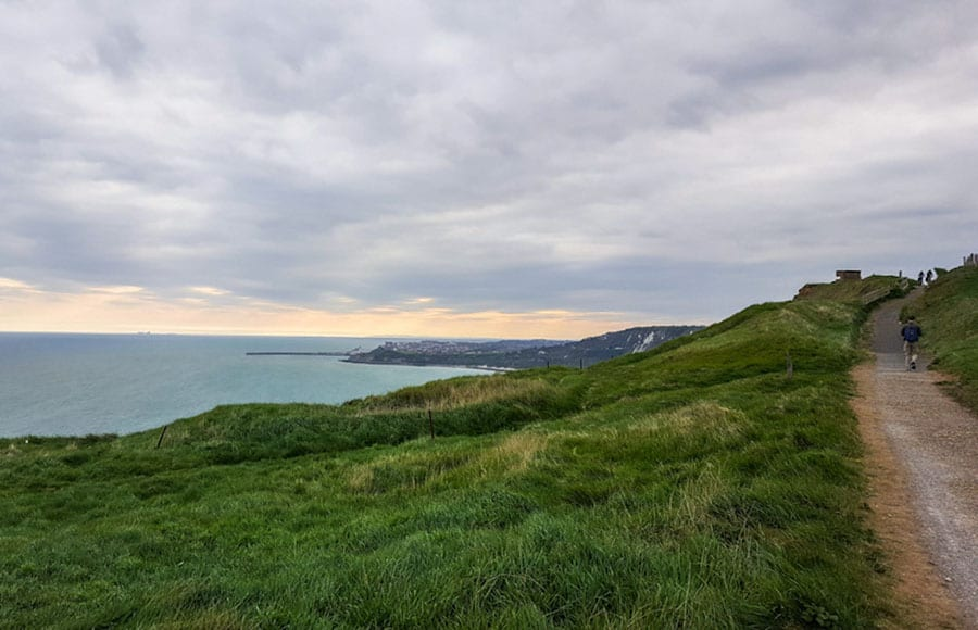 The coast at Dover looking over the grass towards the sea and coast