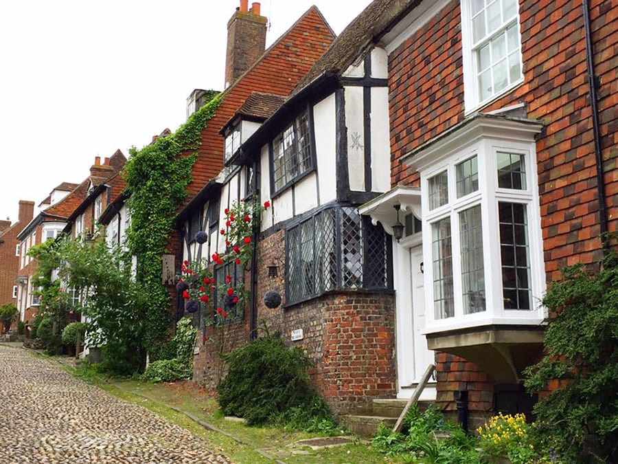 row of quaint cottages with red roses round tudor windows and a cobbled path