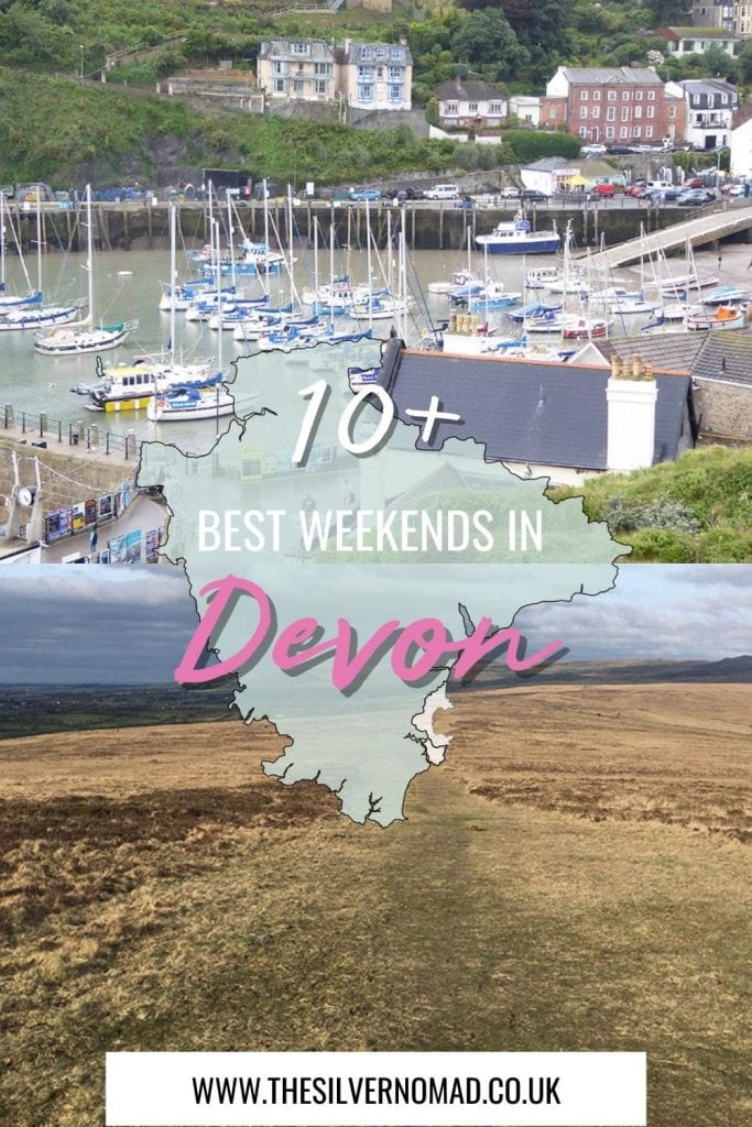 10+ best weekends in Devon with image of yachts in the harbour on top and the moors on bottom