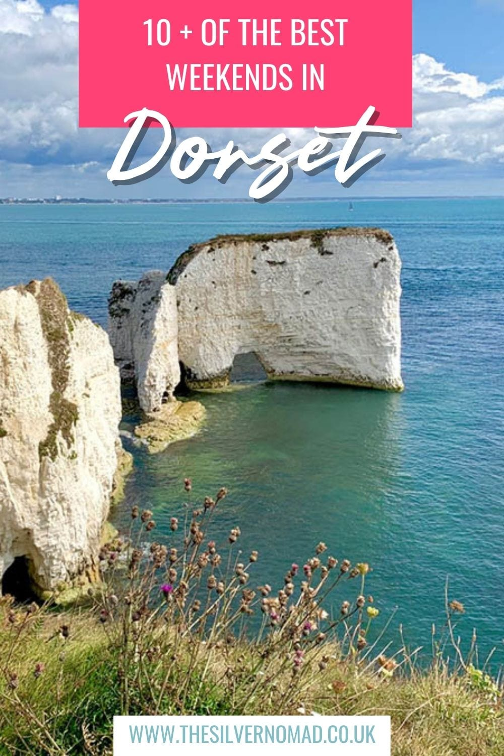 Chalk stack in the middle of the sea with 10+ of the Best Weekends in Dorset superimposed on top