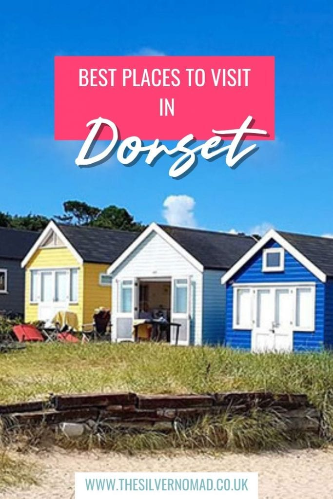 yelllow, white and blue beach houses with Best Places to visit in Dorset superimposed