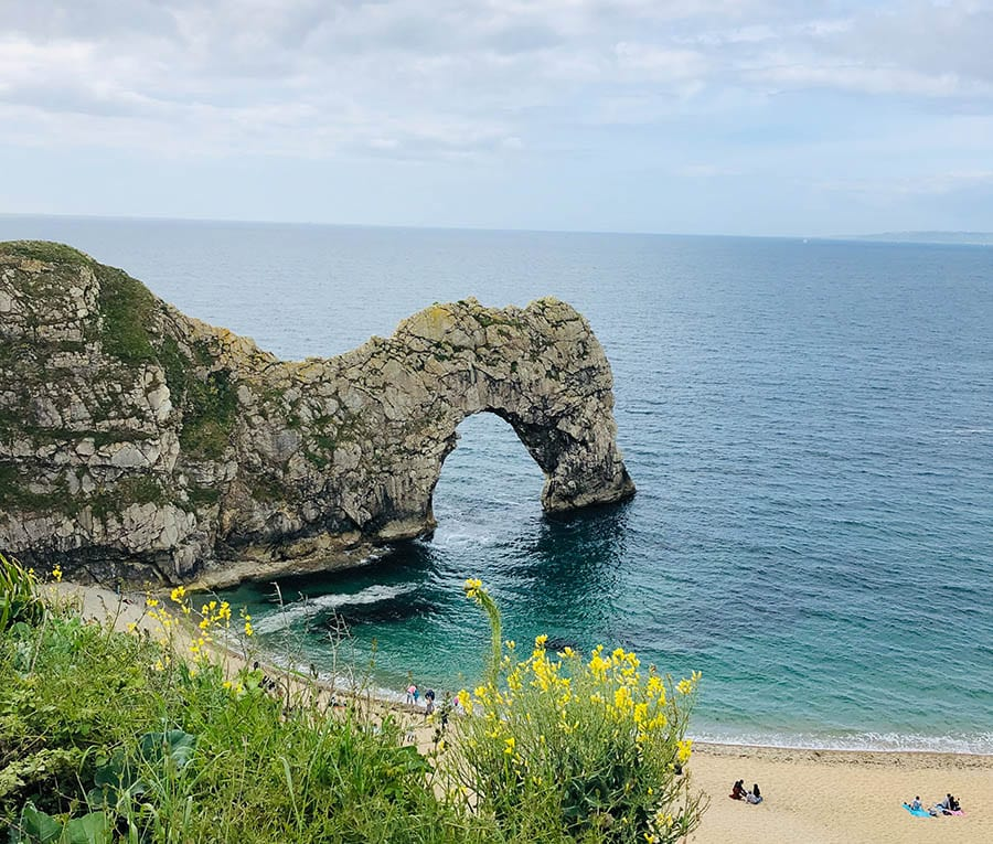 the icon rock formation of Durdle Door with the gap underneath the arch