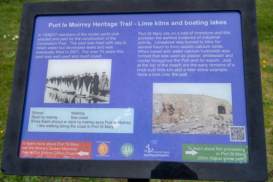 black rimmed information board giving information about Lime Kilns and boating lakes