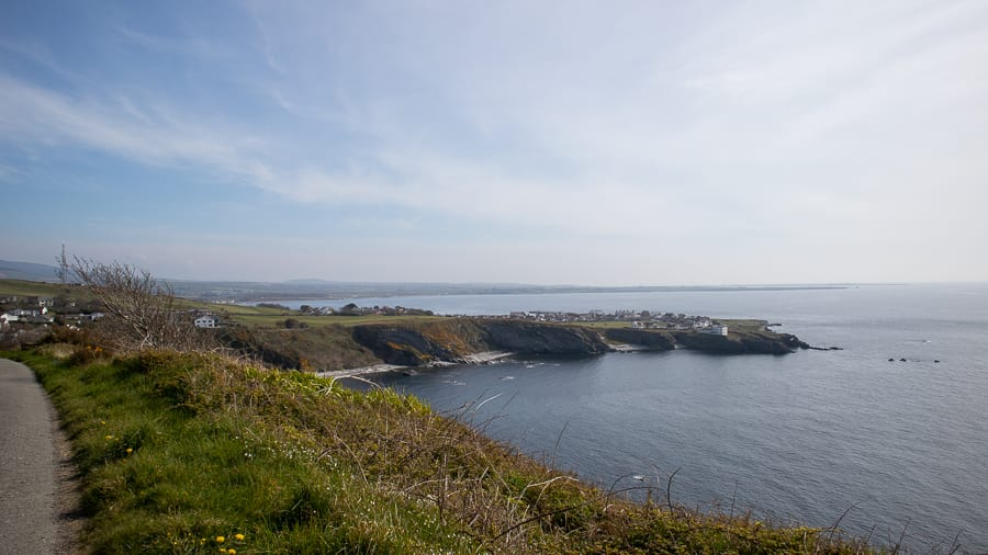 Views over Port St Mary from Raad ny Foillan with the sea around it