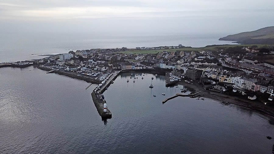 The harbour at Port St Mary from the air
