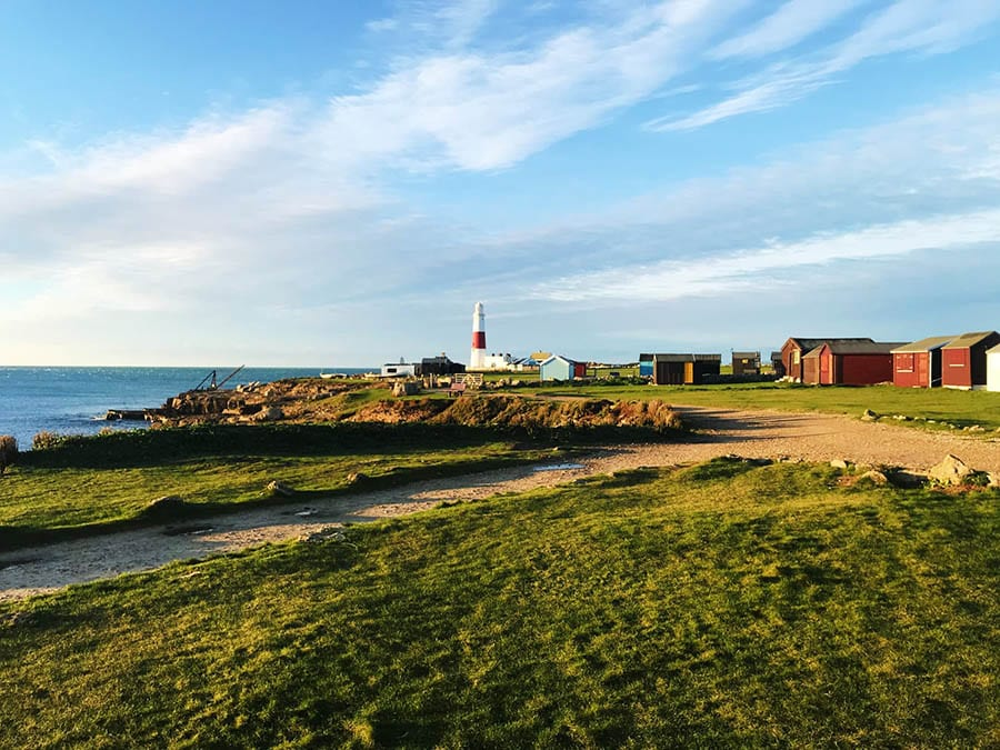 image looking over grass towards the lighthouse at Portland Bill with sea on the left and buildings on the right