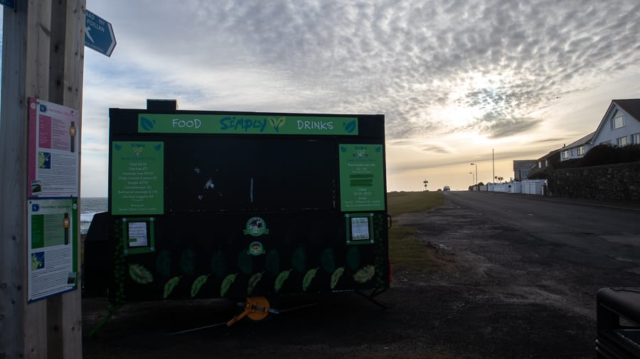 Green and black Simply V foodtruck on Kallow Point Port St Mary