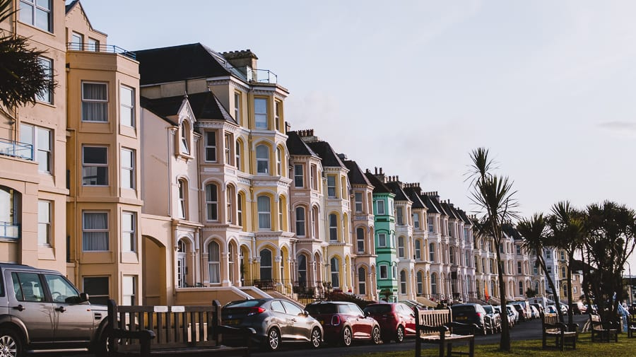 The ice-cream coloured houses along The Promenade in Port St Mary