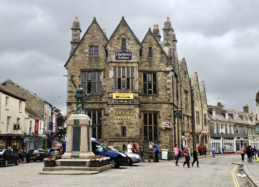 Charlote's Teahouse building in Truro with a frontage saying Coinage Hall and three pointed roofs
