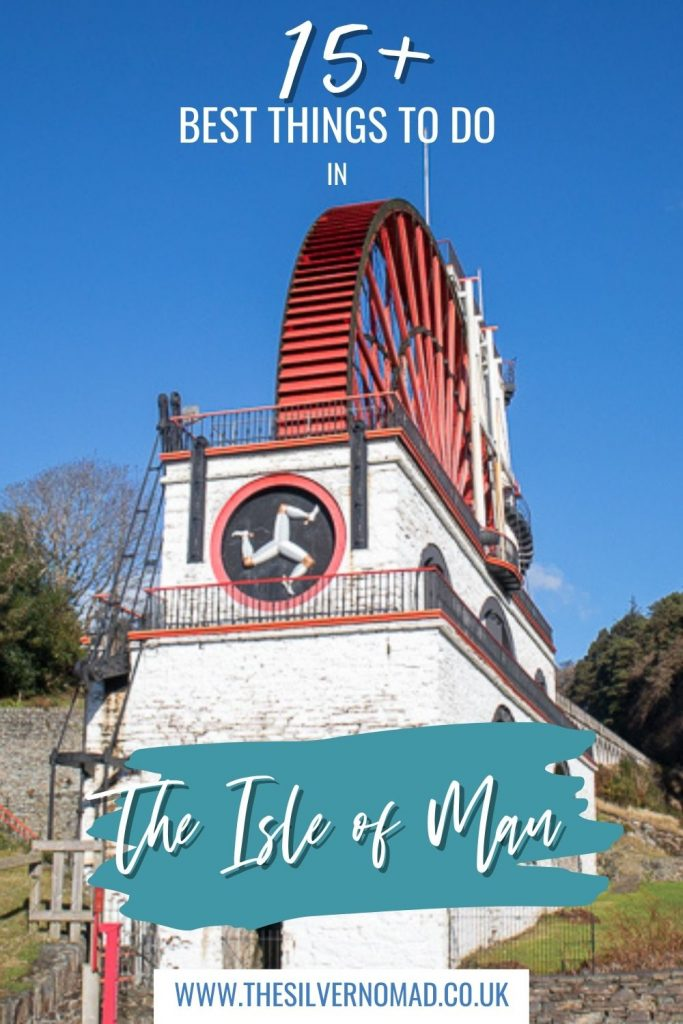 Photo of red water wheel with 15+ best things to do in the Isle of Man written on top