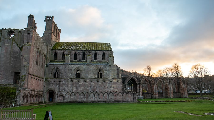 ruins of Melrose Abbey with flying butresses and arches - one of the hidden gems in Scotland