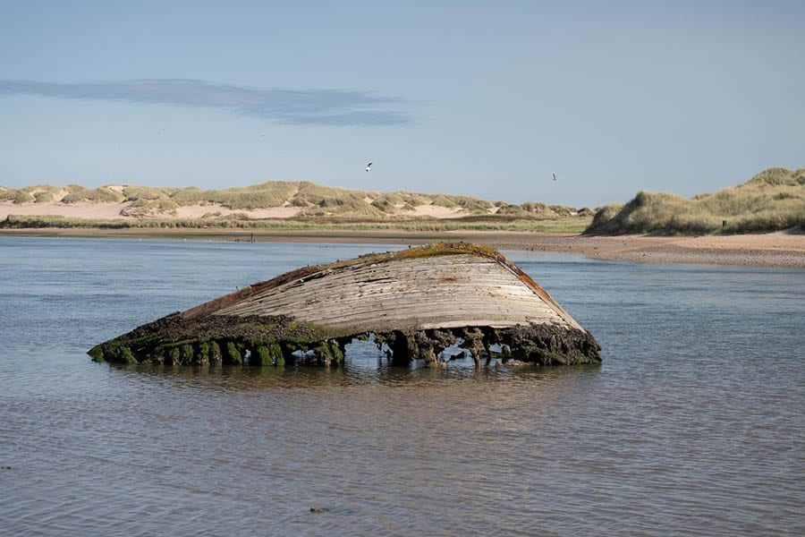 old wooden hull of boat covered in lichen with dunes in the background